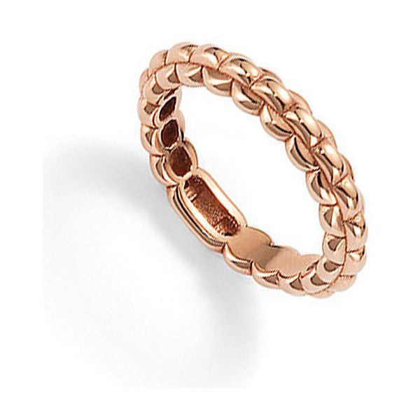Fope EKA Rose Gold Tiny Ring 750 liked on Polyvore featuring