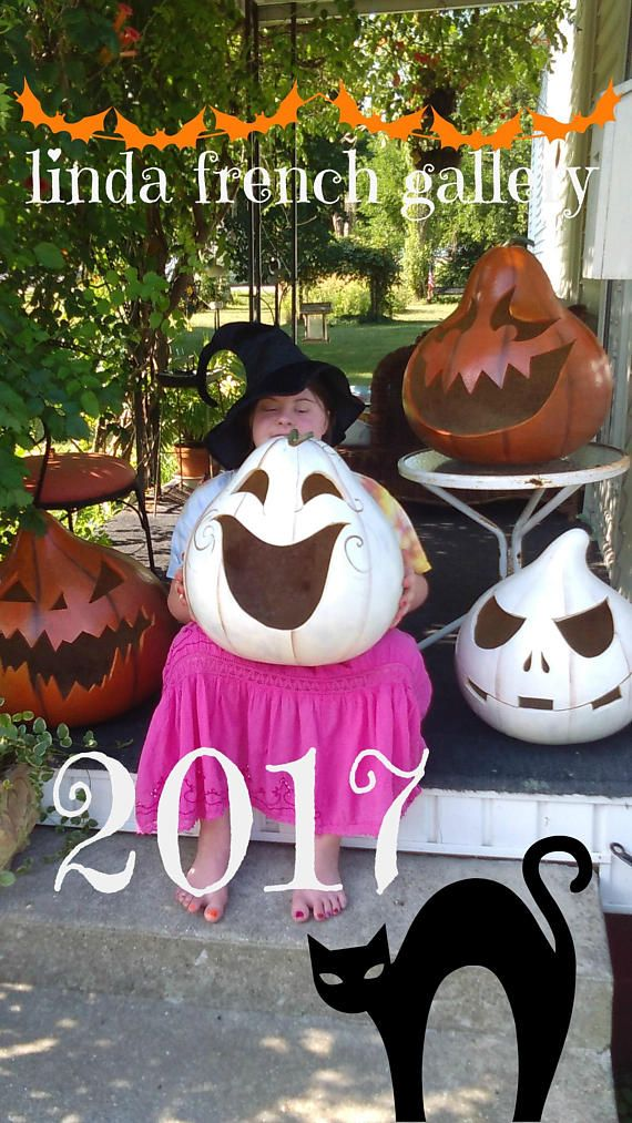 Extra Large Pumpkin Gourd Ghostly Jack O Lantern, Halloween - halloween decorations for the yard