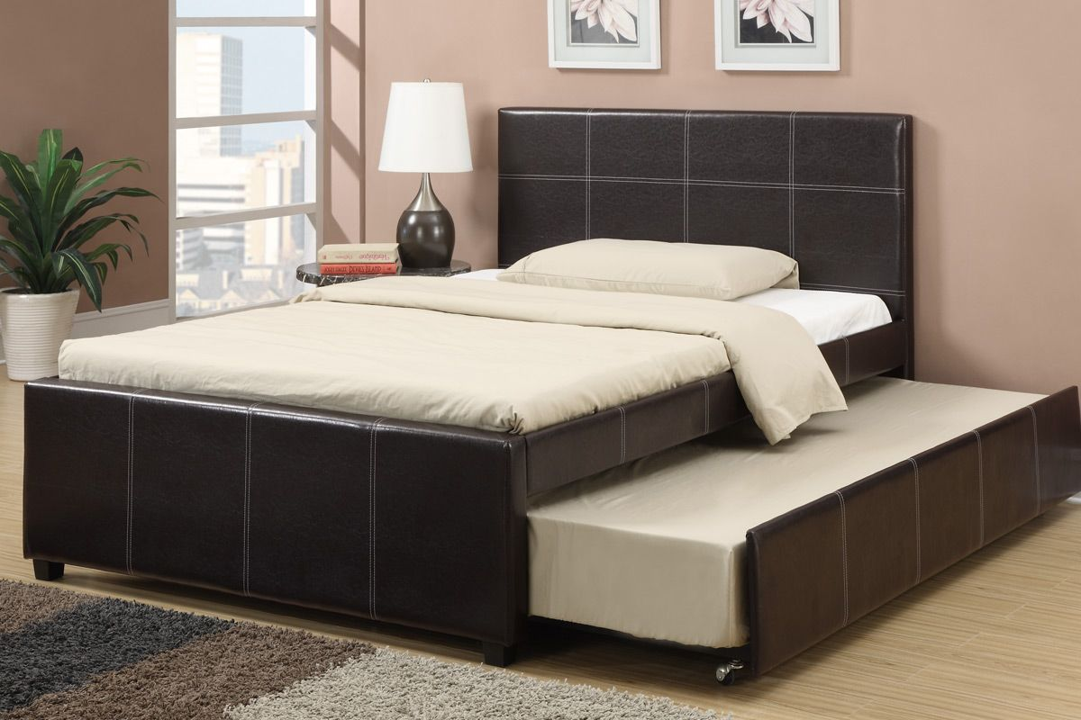 Espresso faux leather Full size bed with Twin size trundle bed, slat ...
