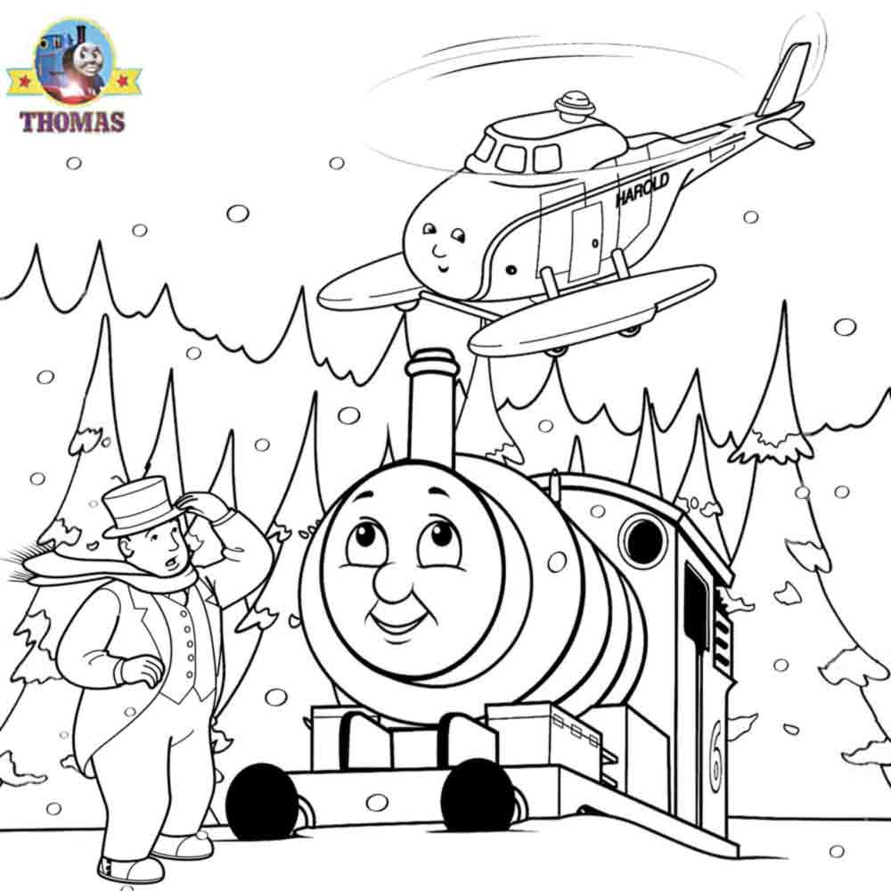 Train coloring pages for toddlers - Thomas The Tank Engine And Harold Helicopter Coloring Pages