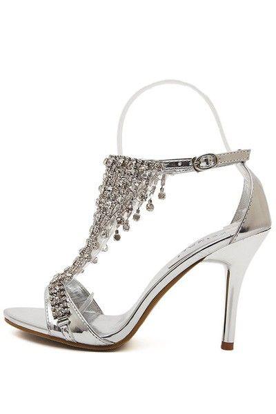 80c7cd369 Free Shipping Silver Rhinestone Decor Open Toe Ankle Buckle Strap Heels