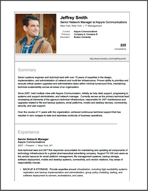 Sample Linkedin Profile  It Network Manager  Brooklyn Resume