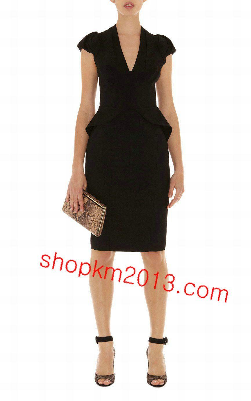 67d34dace7a4 Karen Millen Dp004 Black Sculptural Peplum Dress   Dress   Dresses ...