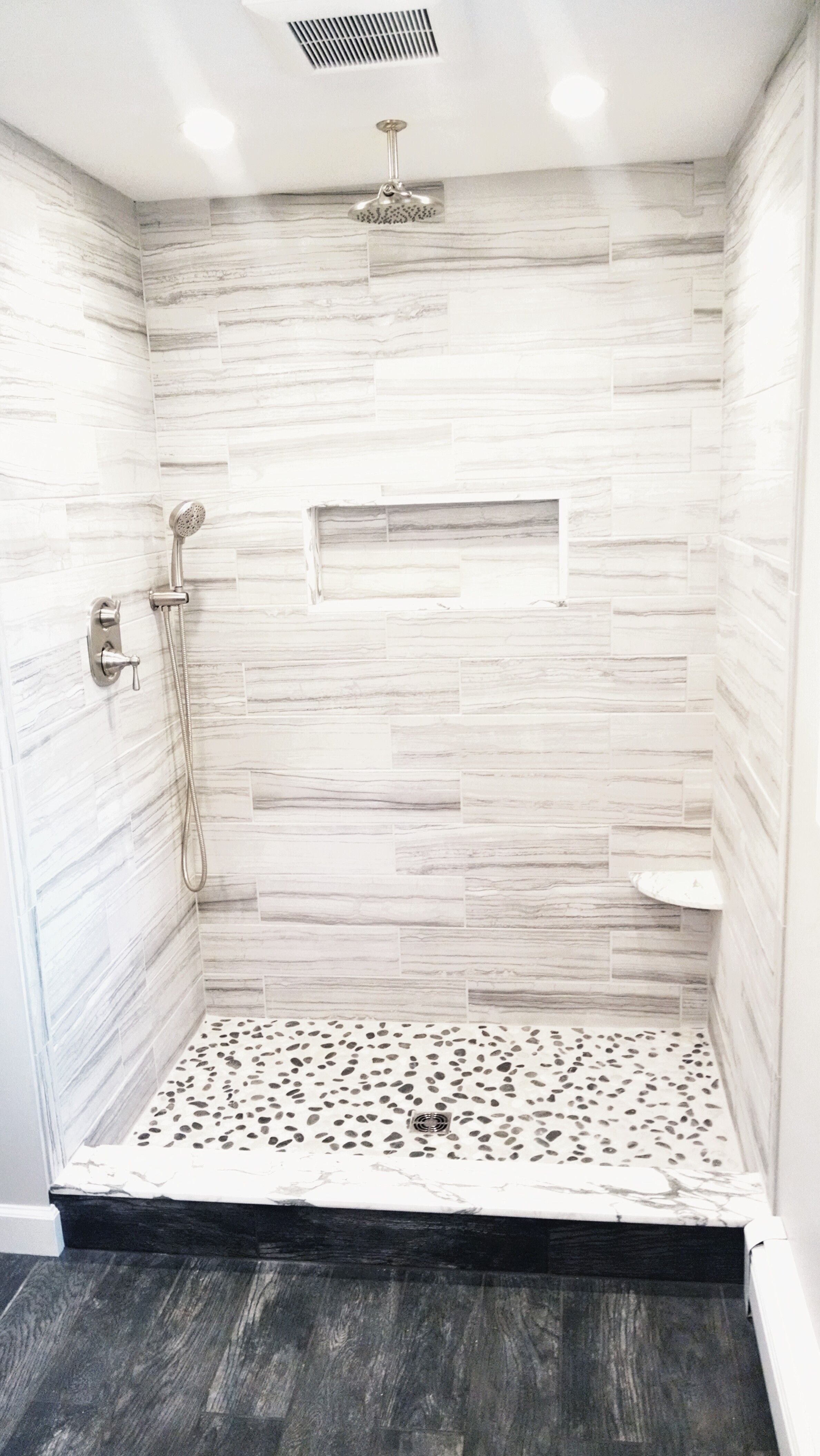Black And White Pebble Tile In 2020 Bathroom Flooring White