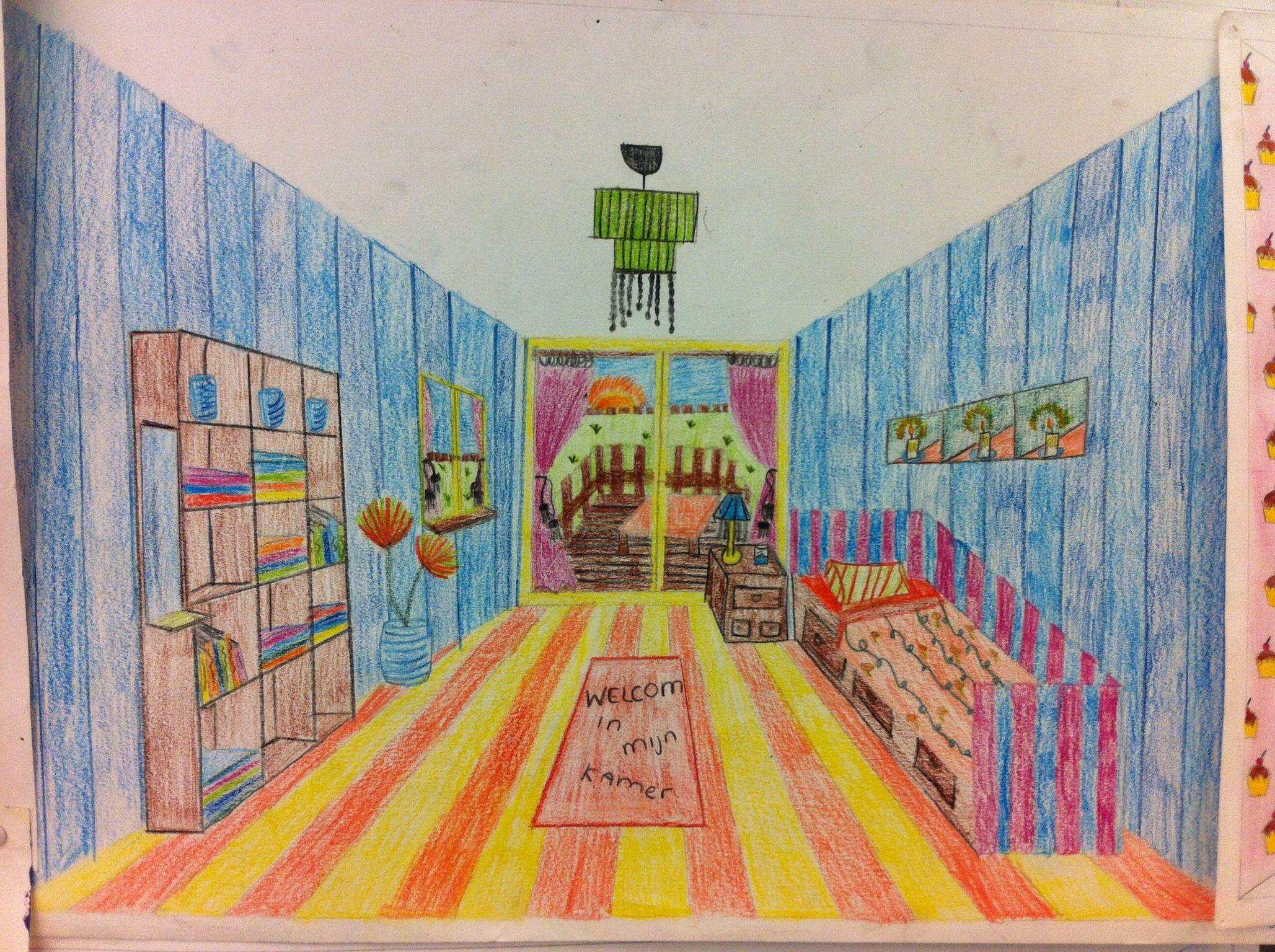 Perspectief groep 7 8 pinterest middle school art for Kamer 3d tekenen