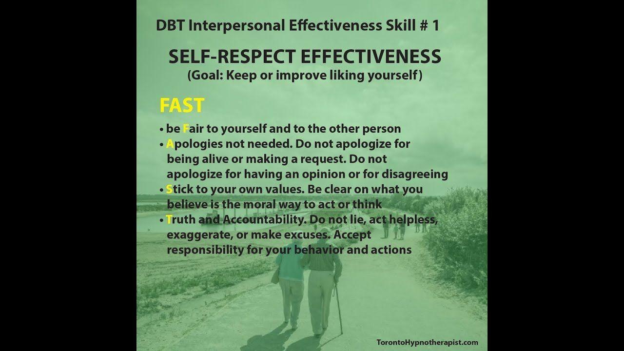 Dbt Interpersonal Effectiveness Skill 1 Self Respect Effectiveness Interpersonal Effectiveness Interpersonal Dbt Skills