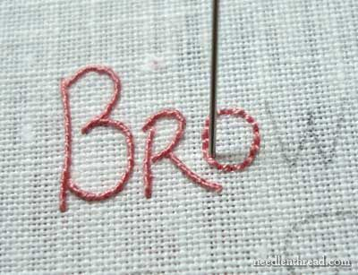 Hand Embroidered Lettering And Text 5 Whipped Backstitch