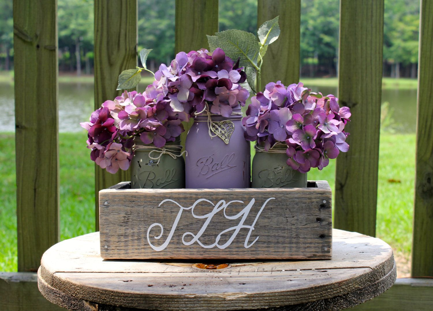 RUSTIC WEDDING CENTERPIECES made with pallet wood and monogrammed with 3 painted mason jars with Annie Sloan Chalk Paint and distressed! by TheSouthernBlend on Etsy