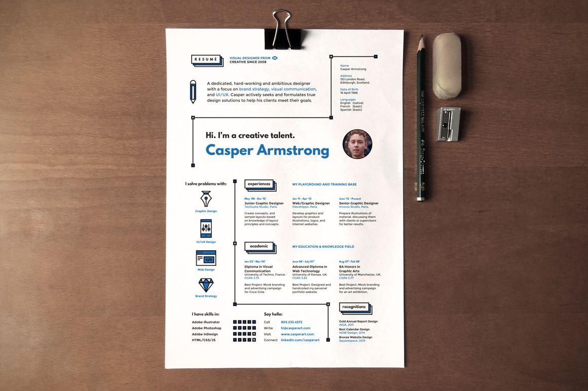 Hipster Resume & Cover Letter by Artalic on Creative Market   CV ...