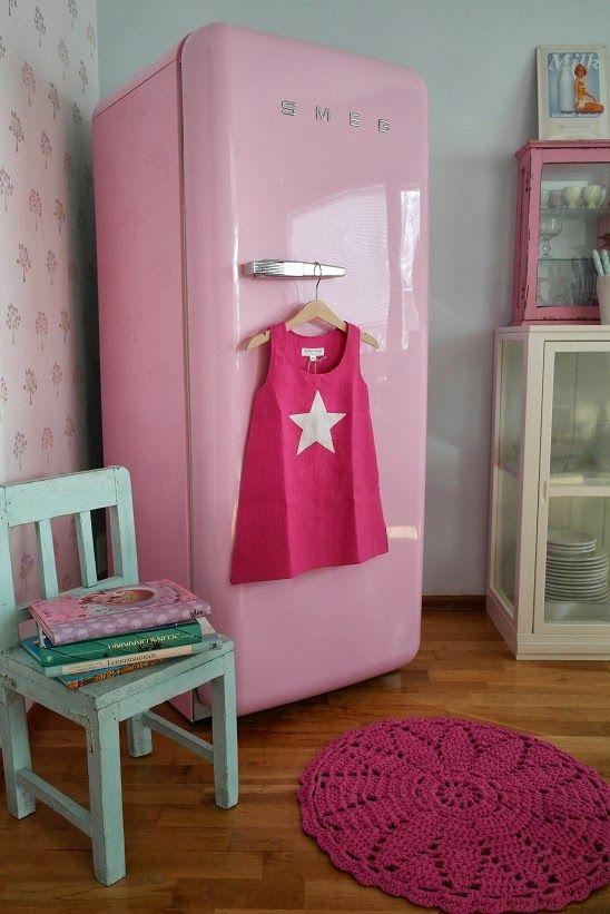 Nuppu Home: Virkattu pinkki pyöreä pitsimatto