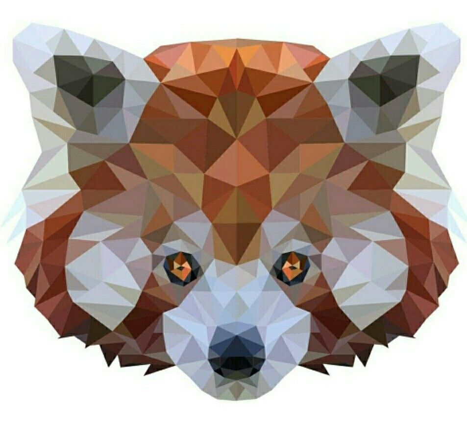 Red Panda Polygon Effect Photoshop Kritzeleien