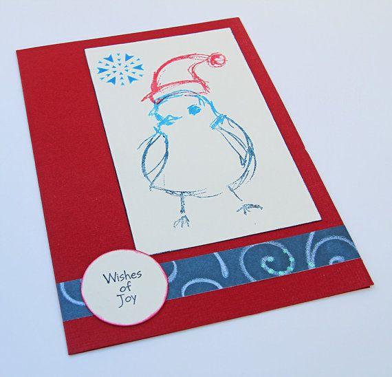 Christmas Bird Greeting Cards, Set of 8 Handmade Christmas Cards, Blue Bird with Santa Hat, Holiday Snowbird, Wishes of Joy, Christmas Set