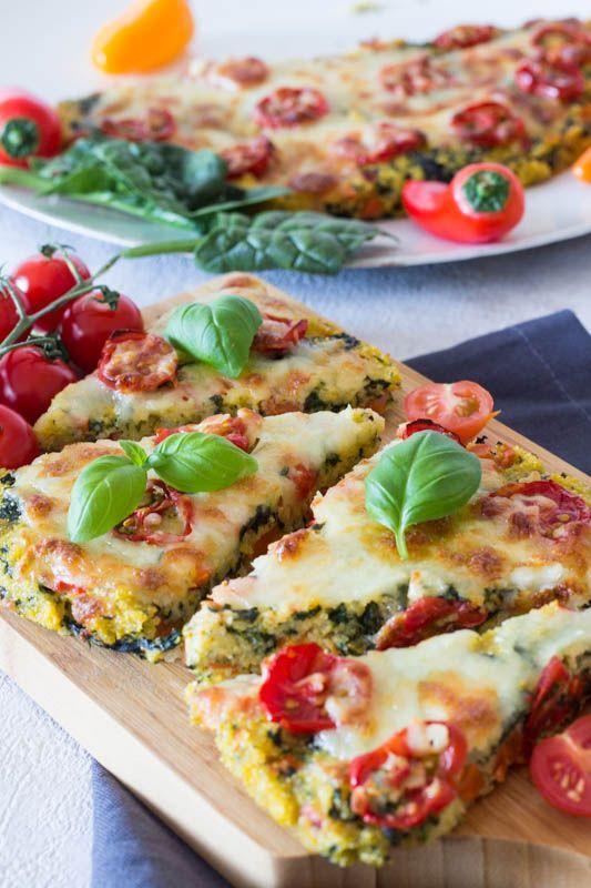 Polenta-Pizza mit Tomaten und Spinat – ein schnelles Rezept für Kinder