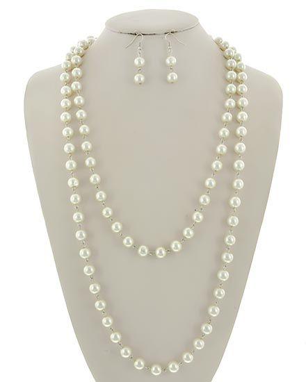 Rhodiumized / Cream Synthetic Pearl / Lead&nickel Compliant / Fish Hook (earrings) / Long Neck & Earring Set