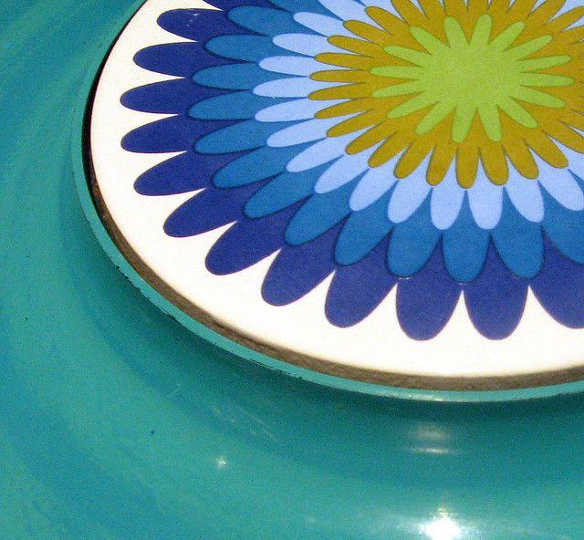 Vintage Round Cheese Tray with Ceramic Center by GranniesKitchen, via Flickr