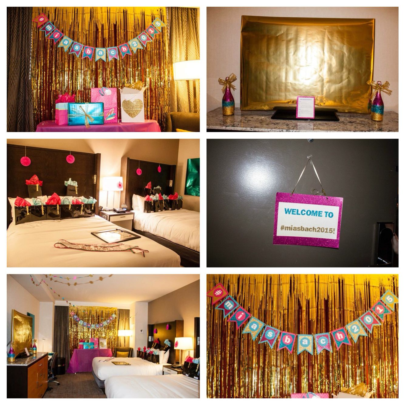 Hotel room bachelorette decorations pink turquoise gold for Hotel room decor for birthday