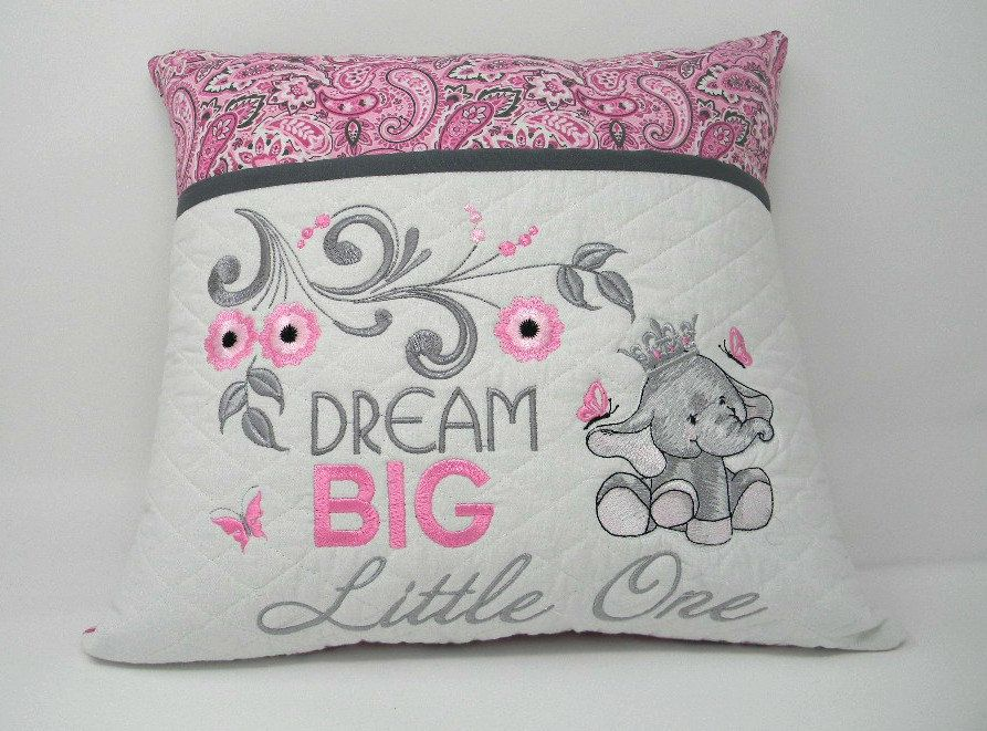 Elephant Reading Pillow Pocket Book Gift For Readers Kids Birthday Embroidered Baby By