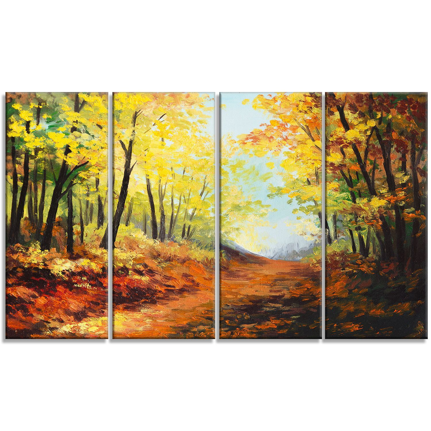 Autumn Forest Pathway Landscape 4 Piece Painting Print on Wrapped ...