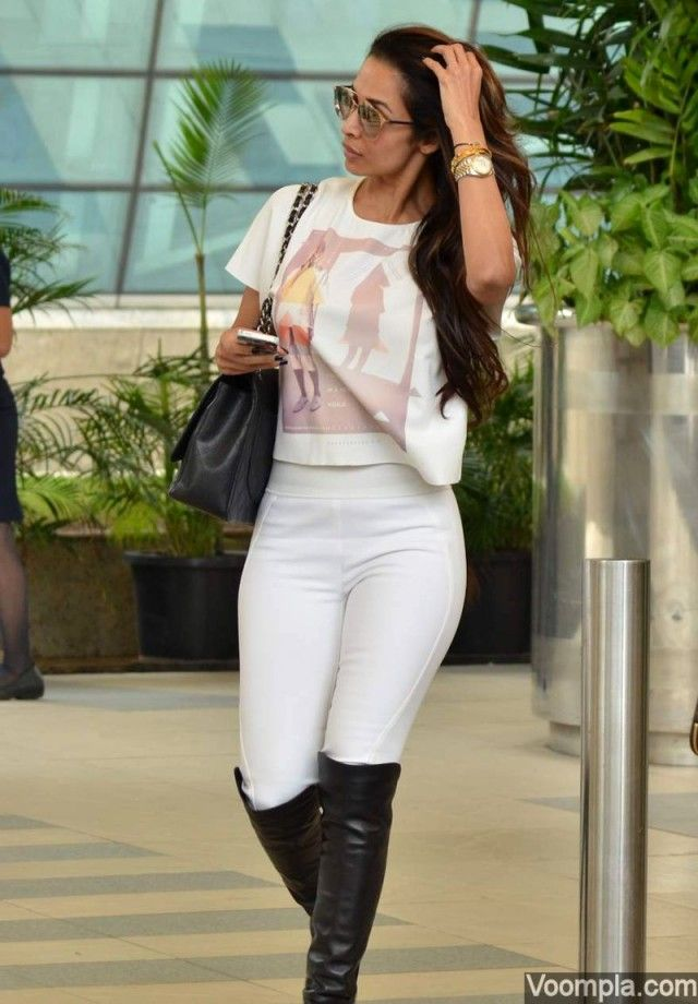 Malaika Arora Khan rocks tight white pants and knee high boots at ...