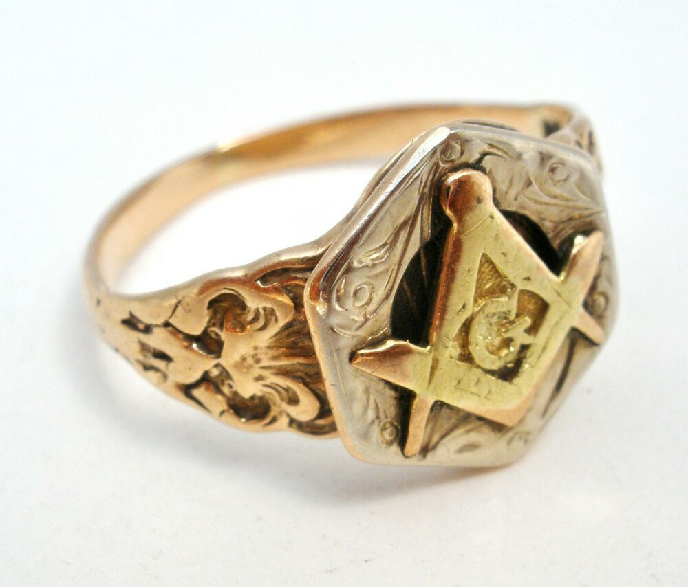 Antique 10k Yellow Gold Masonic Ring Freemason Size 4 5 Art Deco 1 8 Grams Masonic Ring Masonic Antique Jewelry