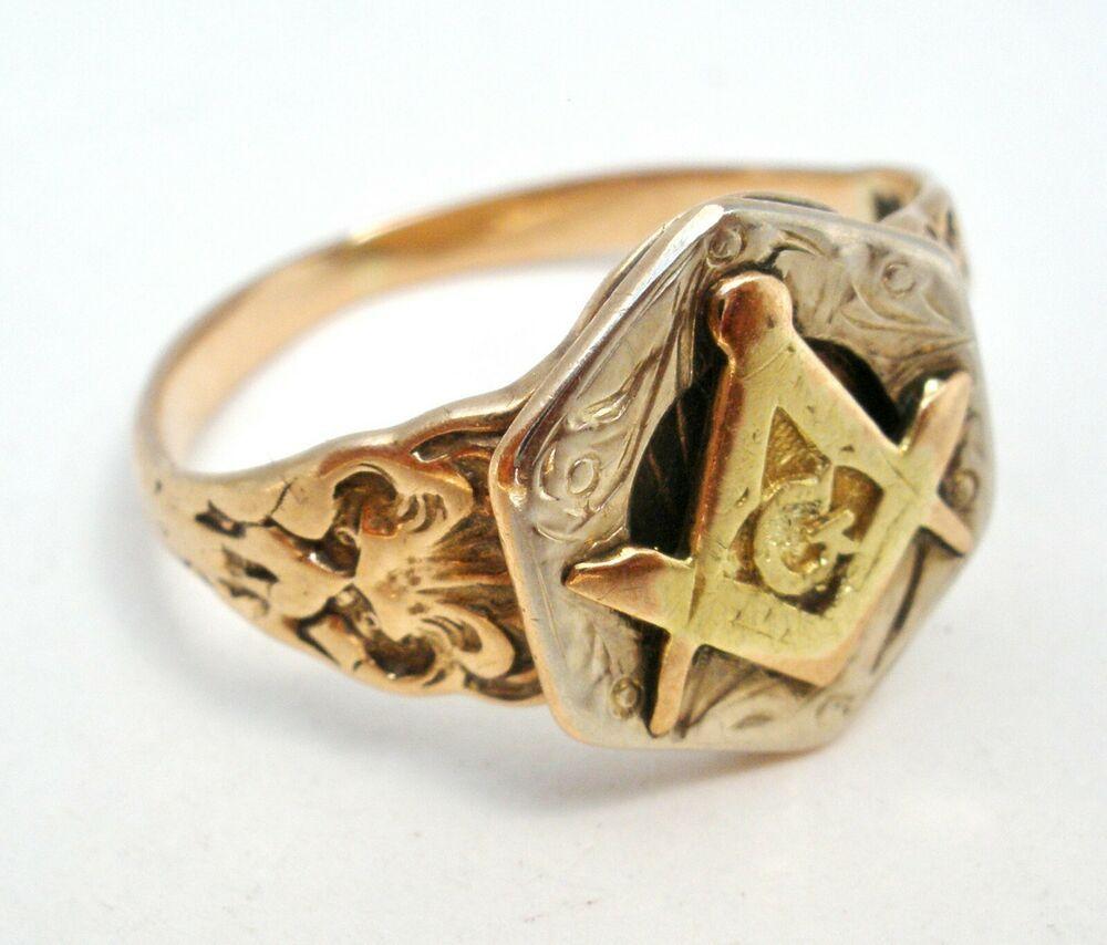 Antique 10k Yellow Gold Masonic Ring Freemason Size 4 5 Art Deco 1 8 Grams Masonic Ring Masonic Antique Jewelry