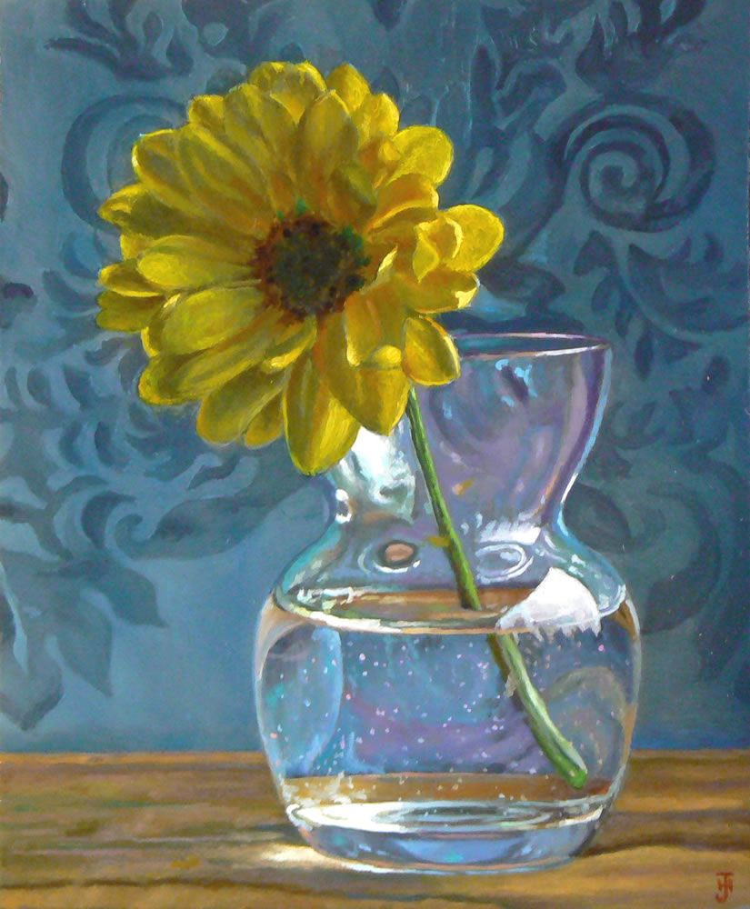 Jeffrey Hayes Daisy in a Vase 6x5 Oil painting