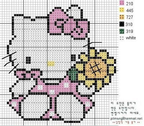 hello-kitty-punto-cruz-patron - 6 patrones Hello Kitty a punto de ...
