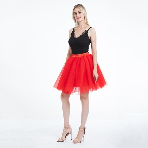 0273d6e865 Skirts Womens 7 Layers Midi Tulle Skirt Fashion Tutu Skirts Women Ball Gown  Party Petticoat 2018 Lolita Faldas Saia