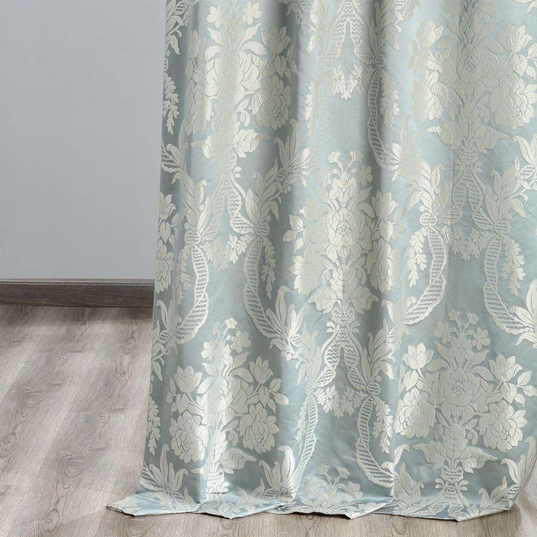 Magdelena Steel Blue Silver Designer Damask Curtain In 2020 Damask Curtains Silver Curtains Curtains