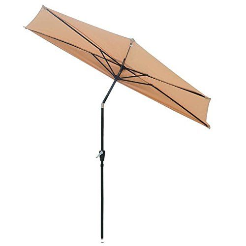 Tilting Half Round Umbrella 9 Foot Patio Off The Wall Tilt Tan Lawn Garden