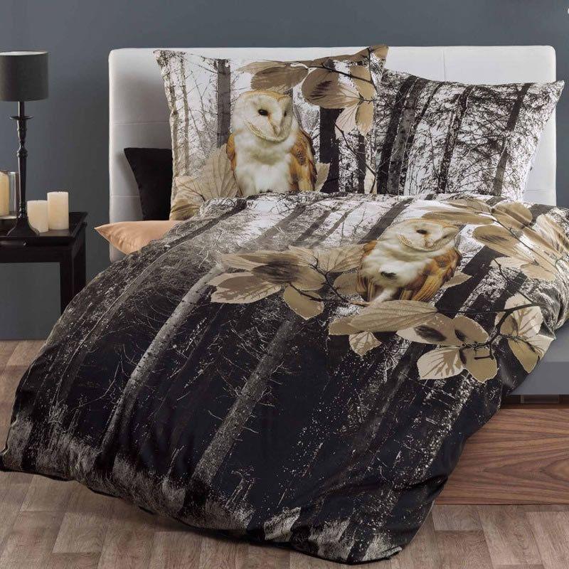 kaeppel mako satin digitaldruck bettw sche 135x200 forest 56474 eule wald kautz bettw sche. Black Bedroom Furniture Sets. Home Design Ideas