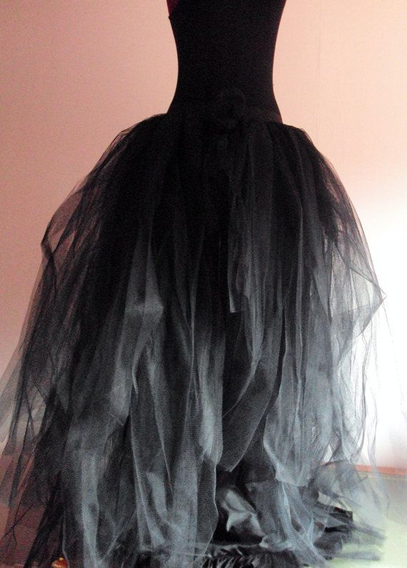 Black Tulle Skirt Halloween Goth Steampunk By