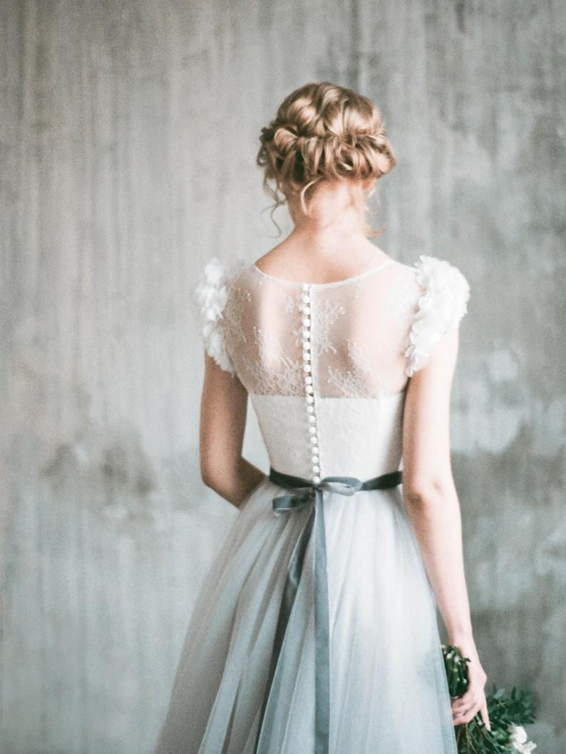 NEVA // Romantic grey wedding dress, lace and tulle a-line wedding gown, corset bodice, long dress with delicate chiffon flowers, milamira #romanticlace