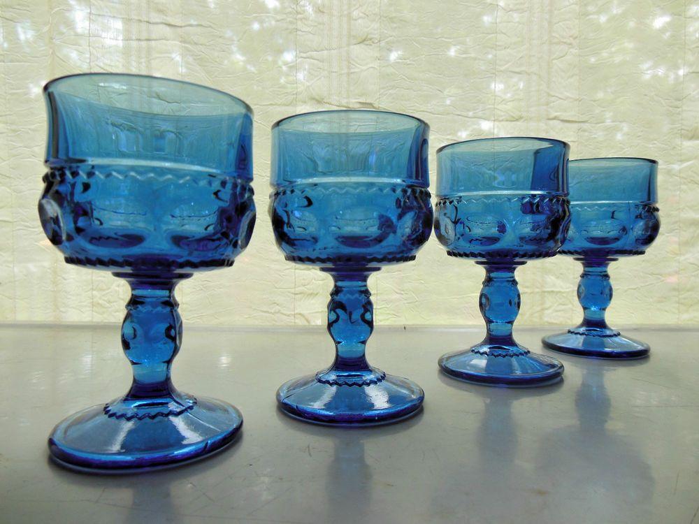 Indiana Kings Crown Cobalt Blue Juice Goblets 4 oz.