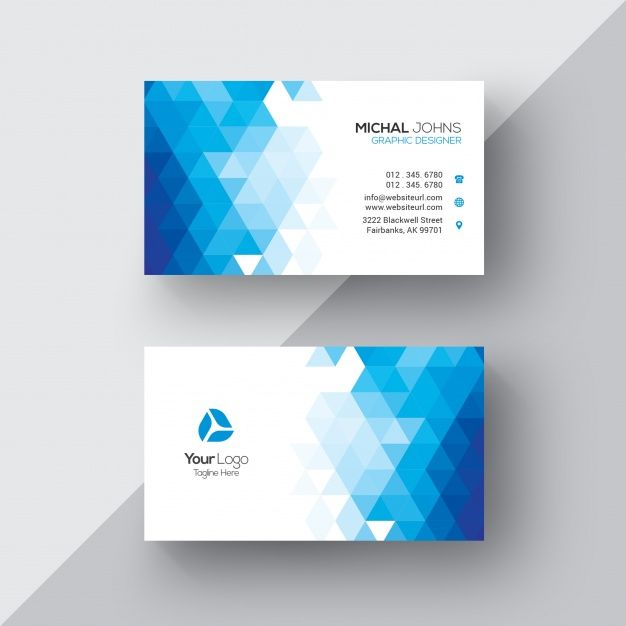 Download Blue And White Geometric Business Card For Free Business Card Logo Design Business Card Template Design Graphic Design Business Card
