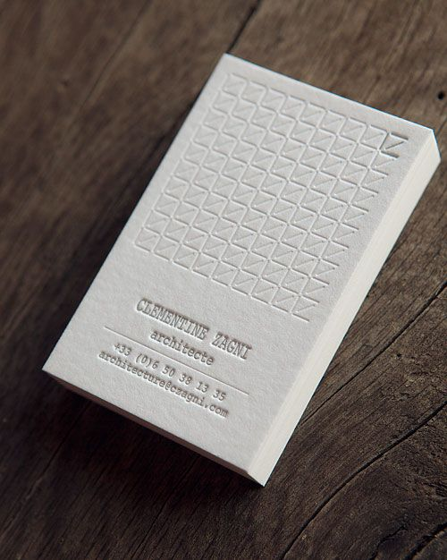 Cartes De Visite Avec Pantone Argent Et Debossage A Sec Blind Debossing And Silver Letterpress Business Card