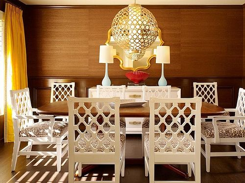 Hollywood Regency Dining Room, White Lacquer Dining Room Chairs