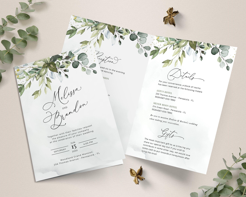 Folded Wedding Invitation Template with Greenery, BiFold