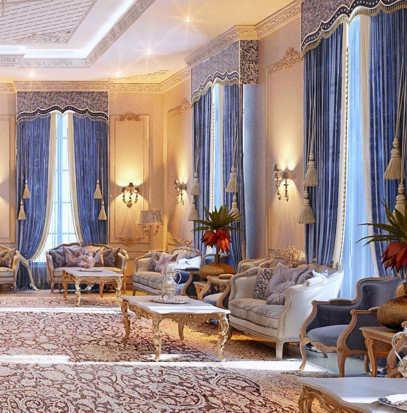 Royal Blue Majlis Doha Qatar On Behance Classic Interior Design House Styles Classic Living Room