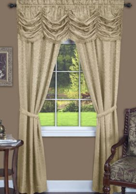 Achim Panache 5 Piece Window Curtain Set Tan 5 Piece Window