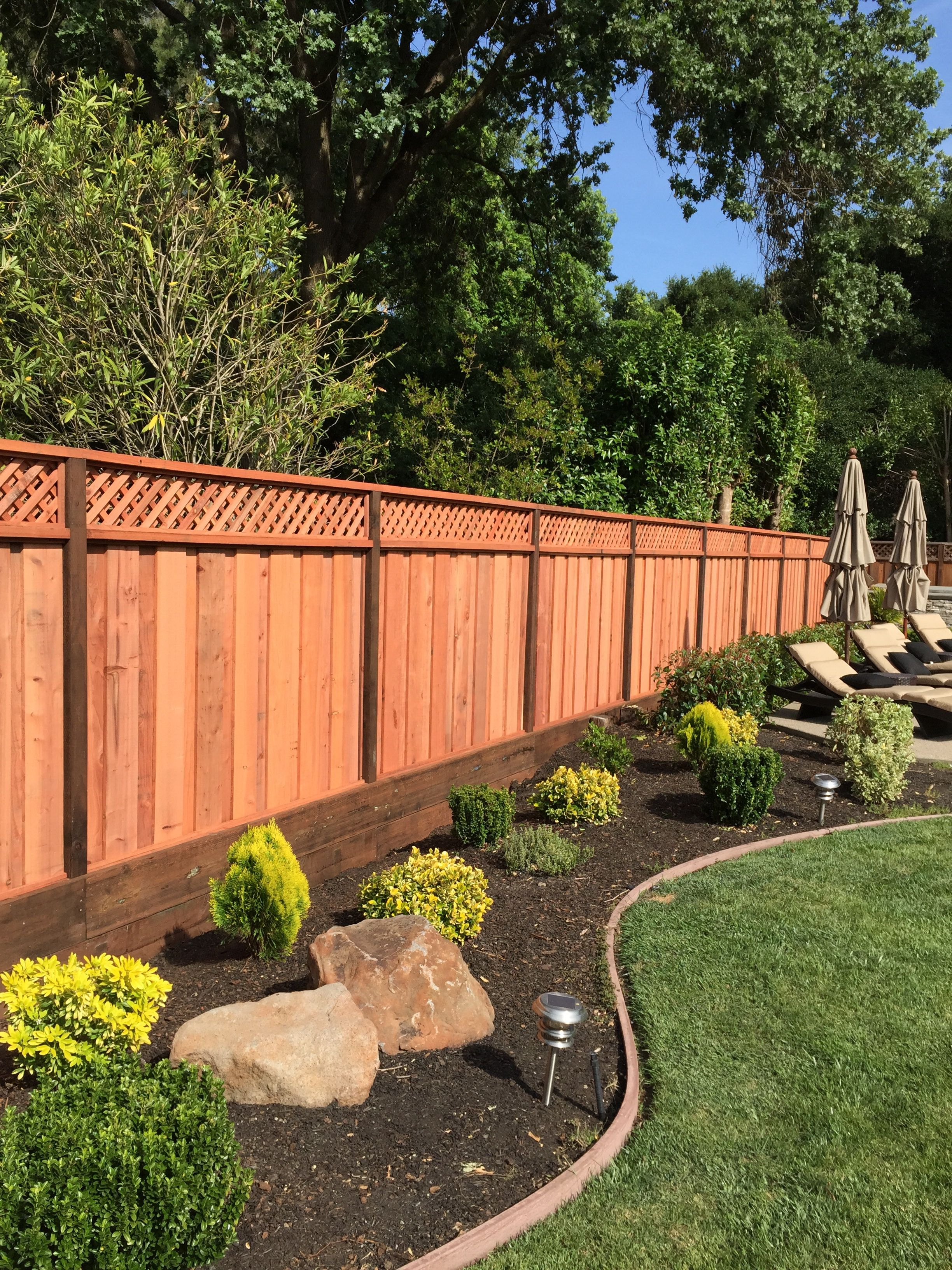 Backyard privacy fence. Style is picture frame board on ...