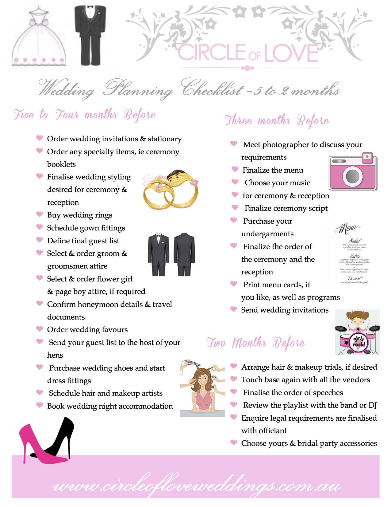 2) Circle of Love Wedding Planning checklist 5 months to 2
