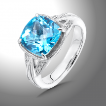Swiss Blue Topaz and Diamond Ring | Colore|SG