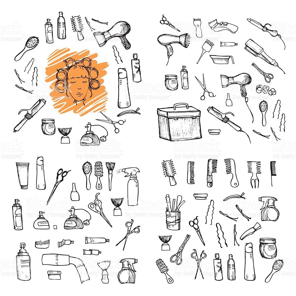 Hand drawn illustration hairdressing tools vector