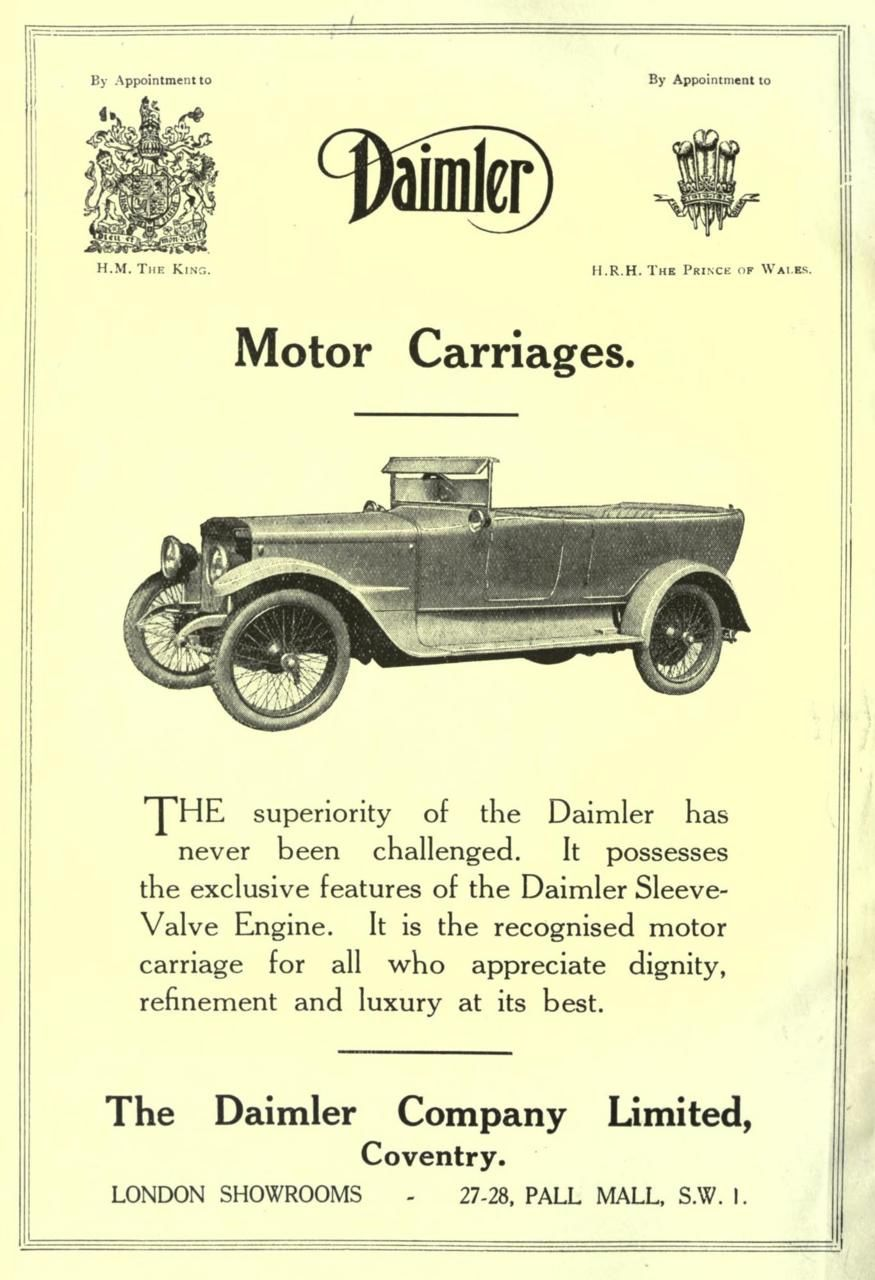 The Oldest Car Manufacturer In Britain Daimler Company Received Patronage From Crown As Well Courts Of Spain And Prussia