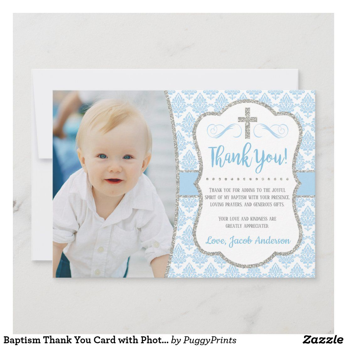 Baptism Thank You Card With Photo Boy Baptism Zazzle Com Baptism Thank You Cards Thank You Card Wording Christening Thank You Cards