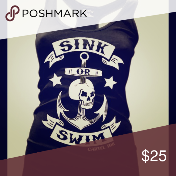 Cartel ink skull sink or swim anchor tattoo tank Tank