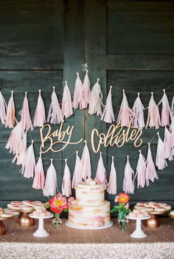 Baby Shower Dessert Table Decor Inspiration Fringe Paper Tassel Garland Decor Baby Shower Dessert Table Baby Shower Birthday Rustic Baby Shower