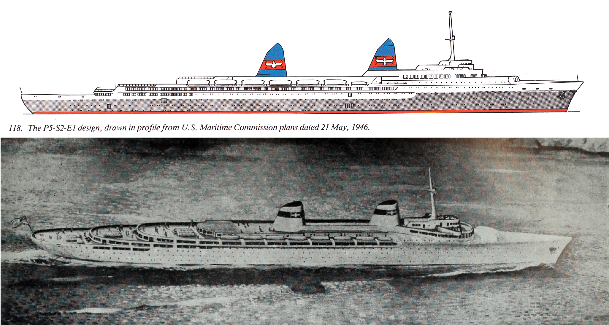 Side Profile And Artistic Illustration For The Proposed Great Circle Liner P5 S2 E1 For The American President Lines C1946 Deck Plans Tall Ships Cruise Ship