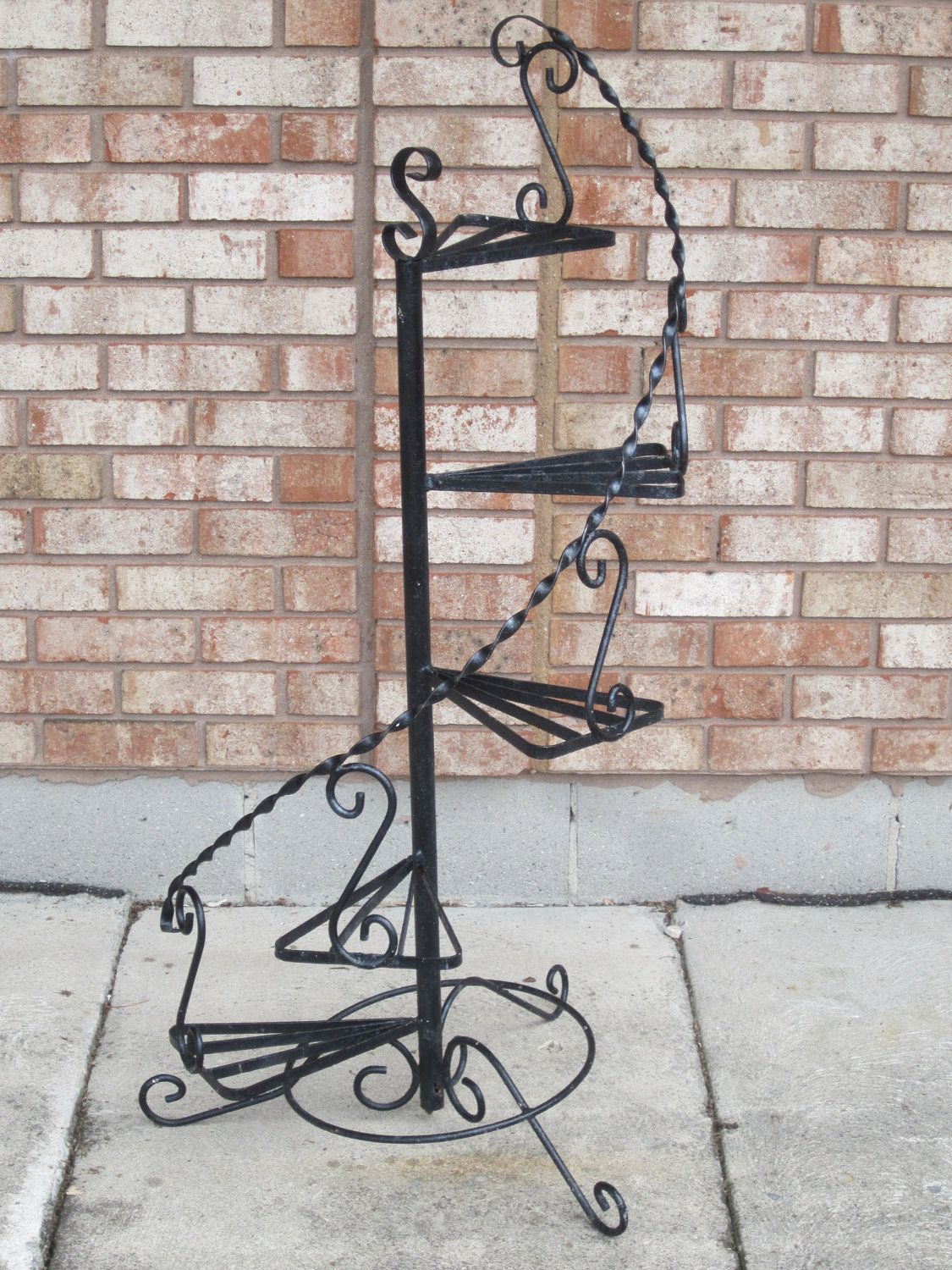 Vintage Wrought Iron Spiral Stand Spiral Steps Plant Stand With